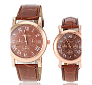 Couple's Casual Gold Case PU Band Quartz Wrist Watch (Assorted Colors)