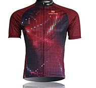 XINTOWN Men 's Grid Breathable Polyester Short Sleeve Cycling Jersey—Red+Black