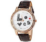 Women's Love Pattern PU Band Quartz Wrist Watch (Assorted Colors)