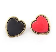 Korean Simple Heart 2Colors Asymmetry Stud Earrings