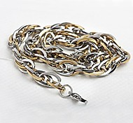 Men's Fashion Gold And Silver Titanium Steel Chain Necklace