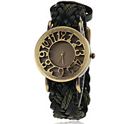 Women's Bronze Case Knitted PU Band Quartz Wrist Watch (Assorted Colors)