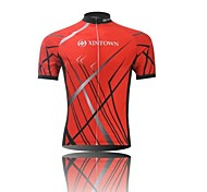 XINTOWN Men 's Contracted Breathable Polyester Short Sleeve Cycling Jersey -Red