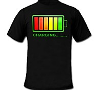 Mens Light Up T-shirt Fixed Mode Flashing LED EL Nylon fastener tape Panel Machine Washable Party Bar Raver Festival