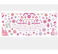 2PCS Pink Snow Water Transfer Printing Nail Stickers