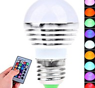 3W E26/E27 LED Globe Bulbs 1 High Power LED 180 lm RGB Remote-Controlled AC 85-265 V