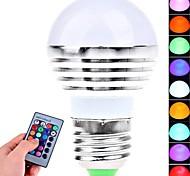 Ampoules Globe LED Commandée à Distance RGB E26/E27 3W 1 LED Haute Puissance 180 LM AC 85-265 V