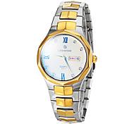 Herren-Business-Stil Gold Stahlband-Quarz-Armbanduhr (farbig sortiert)