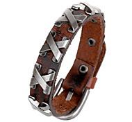 Classic Letter X 20cm Men's Black,Brown Leather Leather Bracelet(Black,Brown)(1 Pc)