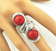 Toonykelly® Vintage Look Female Tibet Alloy Turquoise Adjustable Ring (Red)(1pcs)