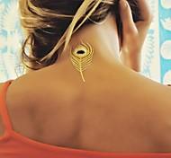 1pcs plumas de oro metálico y plata pegatinas tatuaje tatuajes temporales