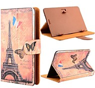 Romantic Eiffel Tower Pattern Universal Flip Leather Stand Case for All 7 Inch Tablet PC with Magnetic Flip Button