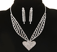 Classic Diamanted Heart Shape Silver Jewelry Set(Necklace&Earrings)(1 Set)