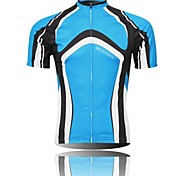 XINTOWN Men 's Contracted Breathable Polyester Short Sleeve Cycling Jersey -Blue+Black