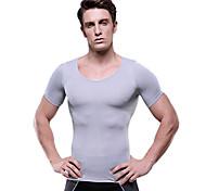 los hombres de manga corta de ropa interior del cuerpo que adelgaza la camisa shaper firme vientre panza gris nylon busto