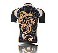 XINTOWN Men 's Dragon Breathable Polyester Short Sleeve Cycling Jersey -Black+Black