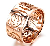 Hollow out the camellia plating rose gilding the ring
