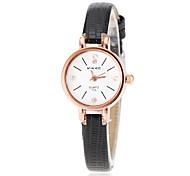 Women's Gold Case Slim PU Band Quartz Wrist Watch (Assorted Colors)