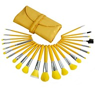 23pcs High Quality Professional Yellow Makeup Brush Set With Free Bag