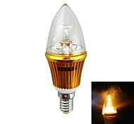 IN-Colour High Brightness E14 3W 300LM 2000K LED Yellow Light Tip Bulb - (AC 85~265V)