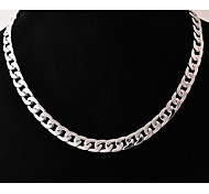 European  (Geometric)  Titanium Steel Chain Necklace(Silver) (1 Pc) Jewelry Christmas Gifts