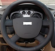 XuJi ™ Black Genuine Leather Steering Wheel Cover for Ford Focus 2 2005-2012