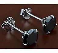 Stud EarringsJewelry Black / Silver Sterling Silver / Zircon Party / Daily / Casual