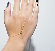 moda mão pulseira anel cadeia feminina