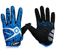 INBIKE Men's Mesh Blue Breathable Wearable Full Finger Cycling Golves