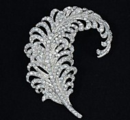 Alloy and Clear Rhinestone Feather Brooch Pin for Wedding Jewelry