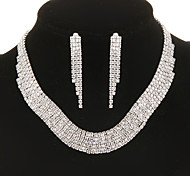 Classic Diamanted Elegant Silver Jewelry Set(Necklace&Earrings)(1 Set)
