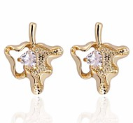 Women Fashion Classic Maple Leaf Shaped Insert Zircon Earrings