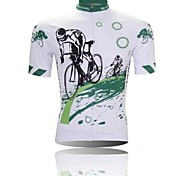 XINTOWN Men 's Cycling Logo Breathable Polyester Short Sleeve Cycling Jersey -White+Green