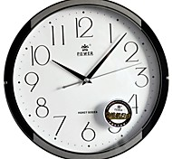 "POWER™ 11""H Brief Style Circle Shape Black And Silver  Border Super Mute Wall Clock"