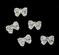 10pcs bowknot alliage d'argent strass Accessoires ongles nail art décoration
