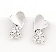 Mode süße Herz zu Herz Strass Ohrringe