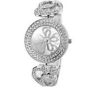 orologio di lusso diamante fiore modello quadrante in acciaio banda braccialetto delle donne (colori assortiti)