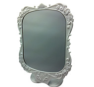 White Comestic Mirror with Rose Pattern