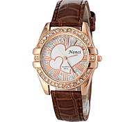 Frauen Diamante runden Zifferblatt Quarz Analog PU-Band beiläufige Uhr (verschiedene Farben)
