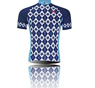 XINTOWN Men 's Grid Breathable Polyester Short Sleeve Cycling Jersey