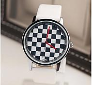 Herrenmode vertraglich schwarz weiße Quadrate Band Uhr
