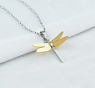 Classic Titanium Steel Three Dimensional Dragonfly Pendant Necklace