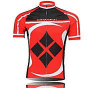 XINTOWN  Men 's Contracted  Breathable Polyester Short Sleeve Cycling Jersey -Red+Black