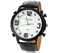 Men's Simple Round Dial PU Band Quartz Analog Sport Watch (Assorted Colors)