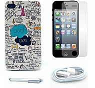 Okay Stars Pattern Hard Case and Screen Protector and Stylus and Cable for iPhone 4/4S