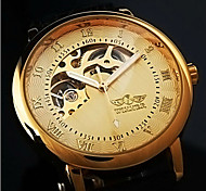 Men's Hollow Gold Skeleton Mechanical Leather Band Wrist Watch Cool Watch Unique Watch