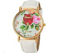 moda de las mujeres aumentó reloj patrón pu banda de cuero pulsera de cuarzo (colores surtidos)