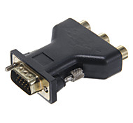 High Speed Audio-3RCA Female to VGA Male Black Adapter
