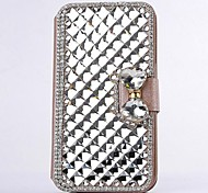 Fashion Crystal Diamond Leather Camellia Full Body Case with Stand for SAMSUNG GALAXY GALAXY S4 I9500