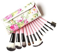 Professional Makeup Brushes Kit 12 Pieces Goat Hair in Pink Leather Bag